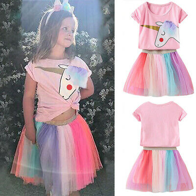 Kids Girls Unicorn Tiered Dress T-Shirt Tutu Skirt Rainbow Princess Party Outfit • 12.25£
