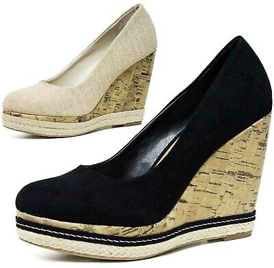Womens Ladies Mid High Wedge Summer Platform Cork Dress Evening Shoes Sandals • 7.95£