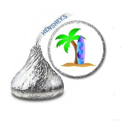 108 SURF SURFBOARD LUAU Birthday Party Favors Stickers Labels For Hershey Kiss • 2.13£