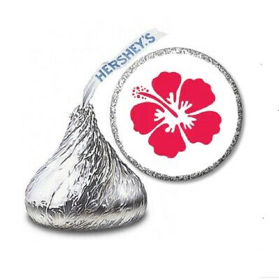 108 HIBISCUS LUAU Birthday Party Favors Stickers Labels For Hershey Kiss • 2.13£