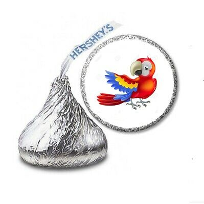 108 PARROT LUAU Birthday Party Favors Stickers Labels For Hershey Kiss • 2.13£