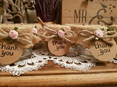 £12.50 • Buy Mini Glass Jars 41ml Beautifully Hand Decorated For Honey Sweets Wedding Favours