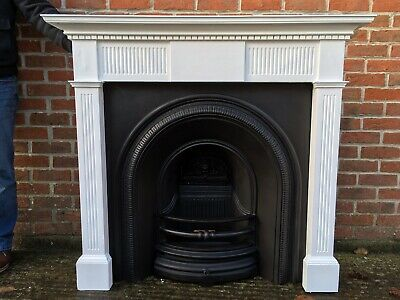 Victorian Style Arched Cast Iron Fireplace & Solid Wooden Painted Surround • 349£