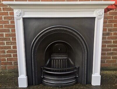 Victorian Style Arched Cast Iron Fireplace & Solid Wooden Painted Surround • 299£