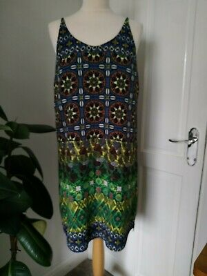 Topshop Tall 10 Green Printed Patterned Cami Dress Tribal • 9.99£