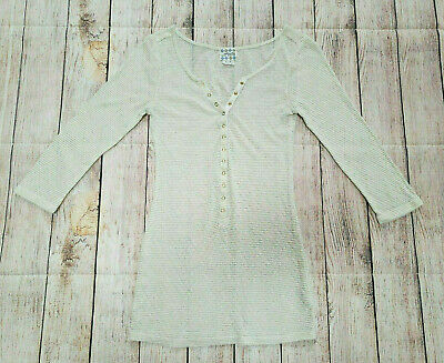 $16.99 • Buy Intimately Free People Small Cream Gold 3/4 Sleeve Button Front Henley Top Shirt