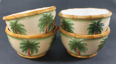 $65 • Buy Lot Of 4 Tommy Bahama 5.5  Ceramic Cereal Bowls Palm Tree Bamboo Handmade China