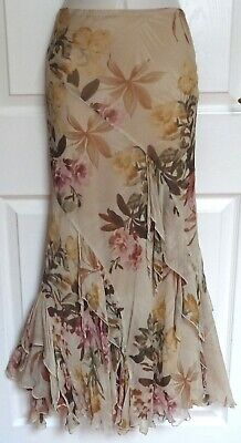 PER UNA Long Brown Pink Silk Flippy Dressy Spring Summer Gypsy Boho Skirt Siz 14 • 2.99£