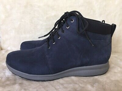 CLARKS UNSTRUCTURED LADIES NAVY BLUE ANKLE BOOTS SIZE 9 UK 43 EUR An Adorn Walk • 74.99£