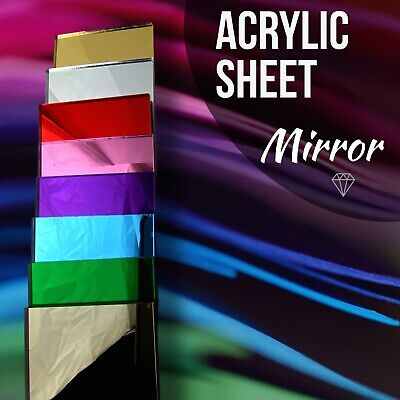 Custom Sizes Mirror Acrylic Sheets Plastic Cut To Size A5,A4,A3 All Colours K&M • 7.99£