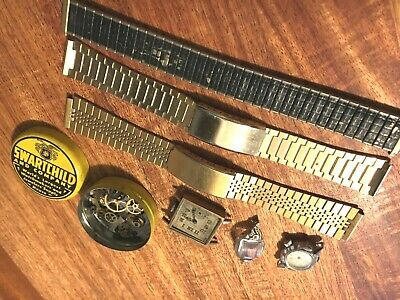 $ CDN32 • Buy Vintage Watch Parts, 3 Mens Bands, 2 Watches, 1 Case, Swartchild Tin With Parts.
