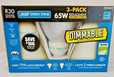 New ! Lot 3 *Dimmable* Reflector Light Bulbs Recessed/Flood Fluorescent R30 65W • 15.08£