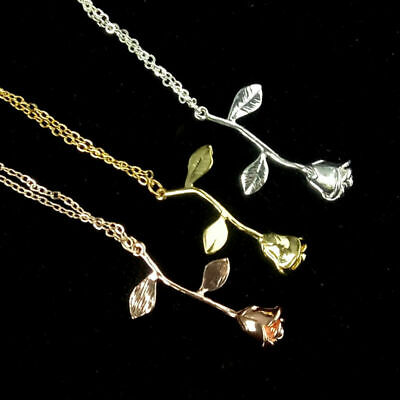 $5.99 • Buy Women Necklace Beauty Rose Flower Pendant Rose Gold Silver Charm Necklace