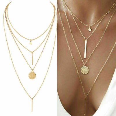 $5.50 • Buy NEW Women Crystal Multi-Layer Choker Collar Pendant Chain Necklace Jewelry Gold