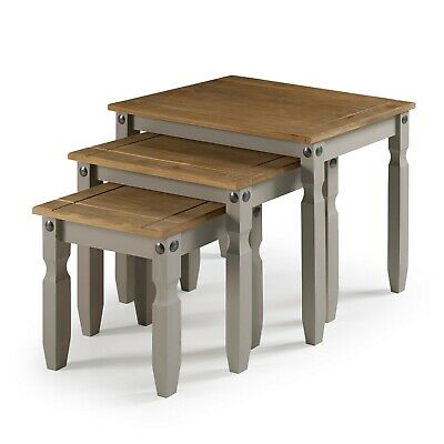 £49.99 • Buy Corona Nest Of Tables Grey Wax Solid Pine By Mercers Furniture®