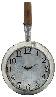"Rustic Primitive Iron & Wood Frying Pan Wall Clock Country Kitchen Skillet 19"" H • 37.51£"