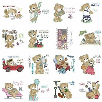 Clear Transparent Stamps Teddy Bear Enjoying High Tea Time Holding • 6.61£
