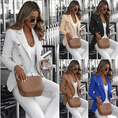£13.10 • Buy Womens Double Breasted Blazer Suit Military Jacket Lapel Slim Fit Outerwear Coat