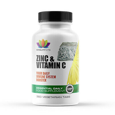 Vitamin C + Zinc Tablets - Immune System Booster - Ascorbic Acid - Vegan UK Made • 6.99£