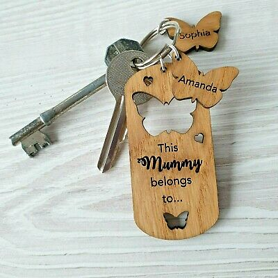 Personalised Gift For Mum Mummy Mothers Day Gift Novelty Wooden Keyring Nanny OA • 4.49£