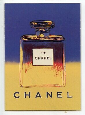 $5 • Buy Chanel # 5 Postcard Blue Yellow With Perfume Sample Attached Andy Warhol Art