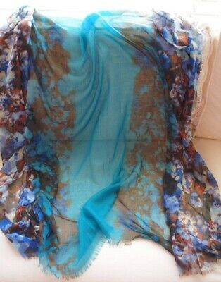 $6.99 • Buy Johnston & Murphy Turquoise And Floral Multi Color Wrap Or Scarf