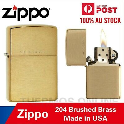 AU46.99 • Buy Genuine ZIPPO Brushed Finish Brass With Solid Brass Lighter, 90204, Best Price
