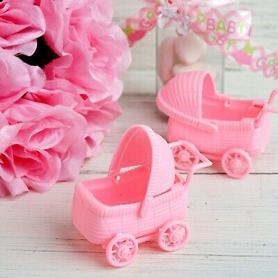 Baby Shower Christening Pink Pram Carriage Favors Table Decoration X 2 • 6.99£