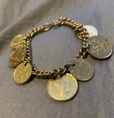 $9.99 • Buy Lucky 7 Coin 1955 Gold Canadian Penny And Swiss Rap Charm Bracelet German Made