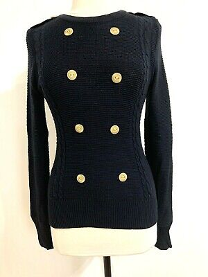 $ CDN35 • Buy Anthropologie Eve Gravel Navy Sweater Gold Button Details Size M