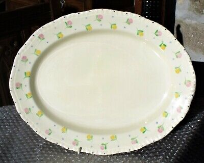 1950's Ridgway Pottery 14in X 11in Floral Meat Plate Or Serving Platter • 2.75£