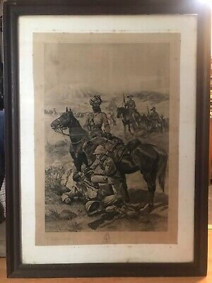 Antique Large Sepia Lithograph By Richard Caton Woodville With His Signature • 350£