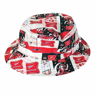 $33.99 • Buy Miller High Life All Over Logos Bucket Hat (Red/Blue, One Size)