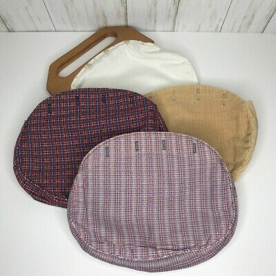 $49.99 • Buy Jeannie Bouchever Bermuda Bag Wood Handles With 3 Covers Preppy Plaid Wool Cover