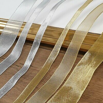 £1.39 • Buy Small-Large GOLD/SILVER ORGANZA WIRED RIBBON Thin-Wide Craft Cake Edge Per Metre