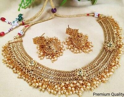 $20 • Buy Indian Bollywood Style Fashion Gold Plated Bridal Jewelry Kundan Necklace Set