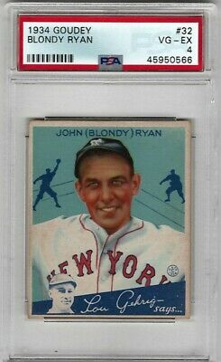 $32.95 • Buy 1934 Goudey #32 Blondy Ryan Giants - PSA 4 VG/EX
