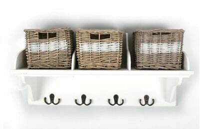 £33.94 • Buy Wicker Storage Unit With 3 Baskets And Coat Hook Hangers Wooden Shelf Rack Stand