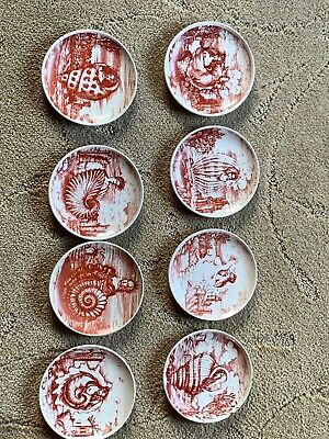 $1200 • Buy Fornasetti Milano Le Oceanidi Red Set Of 8 Coaster Plates 4 Inches Made In Italy
