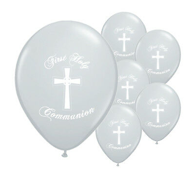 10 X SILVER FIRST HOLY COMMUNION 12  HELIUM  BALLOONS PARTY DECORATIONS  (PA) • 2.29£