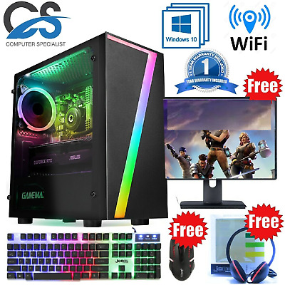 Fast Gaming PC Computer Bundle Intel Quad Core I5 16GB 1TB 2GB GT710 Windows 10 • 319.99£