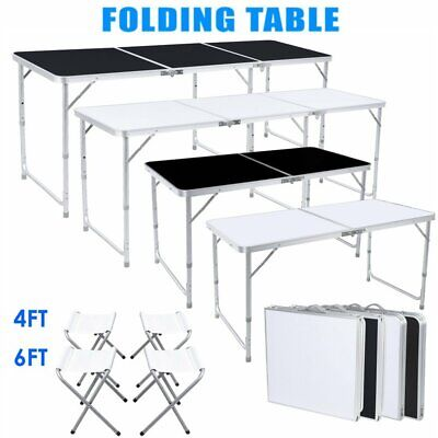 $43.99 • Buy 4 6FT Folding Table Portable Outdoor Picnic Party Dining Camp+4/6 Folding Chairs