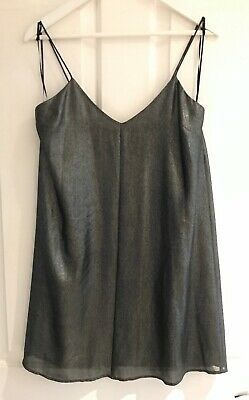 TOPSHOP Metallic Graphite Back Pleated Cami Slip Dress Size 10 Lined  Camisole • 9.99£