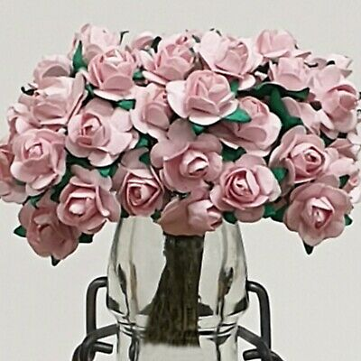 £1.95 • Buy PRETTY PINK PAPER TEA ROSES Small Mulberry Craft Embellishment Flower Bouquets