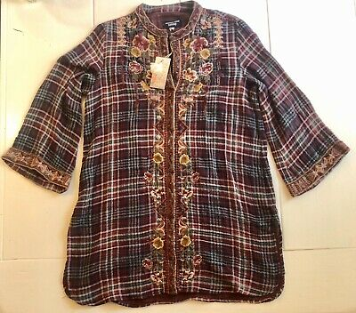 $109.99 • Buy Johnny Was Nepal Kimono Sleeve Tunic, Medium, Plaid. NWT! Embroidery.