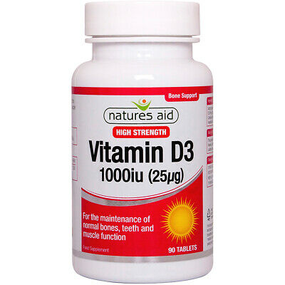Natures Aid High Strength Vitamin D3 1000iu (25µg) - Choice Of 90 Or 120 Tablets • 8.50£