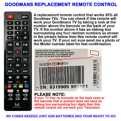 Replacement Goodmans Lcd/led Tv Remote Control Works For 99% All Lcd/led Models • 6.99£