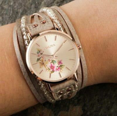 £8.99 • Buy Kahuna Ladies Rose Gold Coloured Grey Beaded Strap Watch RRP £24.99