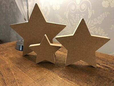 Freestanding 18mm Thick  Large MDF Wooden Star Christmas Shape, Crafts • 1.99£