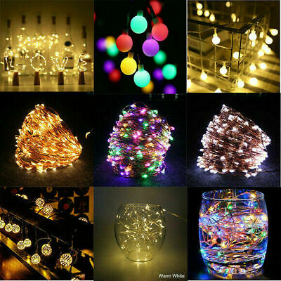 LED Fairy Lights String Copper Wire Bottle Moroccan Globe Battery Lamps Wedding • 5.71£